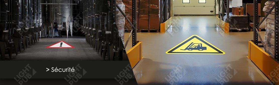 Projection panneau lumineux au sol pour usine, industrie et logistique